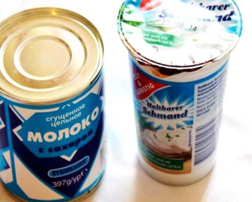 продукты для приготовления крема