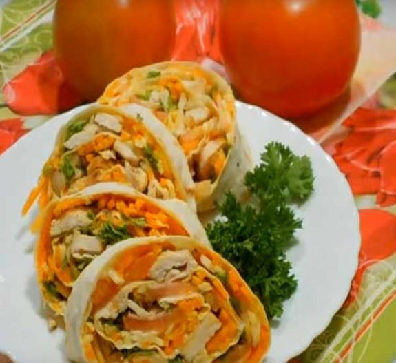Ррулет из лаваша с корейской морковью рецепт с фото пошагово