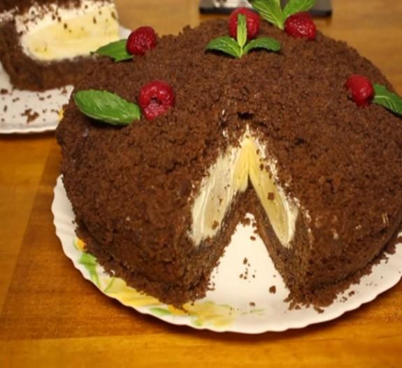 как приготовить норка крота торт с бананами рецепт с фото пошагово